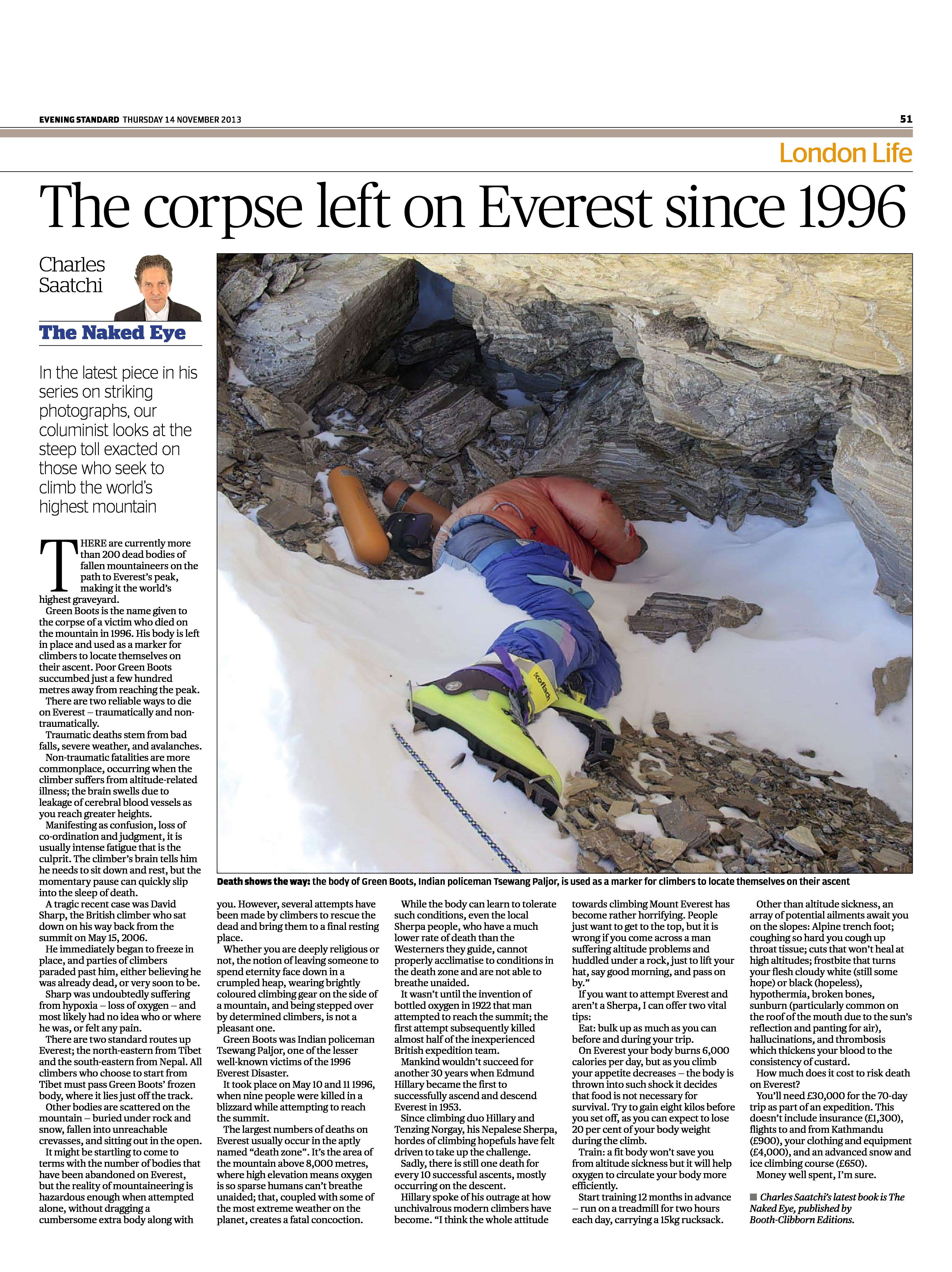 The corpse left on Everest